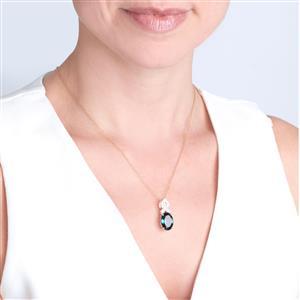 Marambaia London Blue Topaz Pendant Necklace with Diamond in 14K Gold 7.27cts