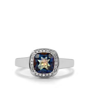 Mystic Blue Topaz & White Zircon Sterling Silver Ring ATGW 1.88cts