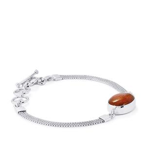 10ct Fossil Red Coral Sterling Silver Aryonna Bracelet