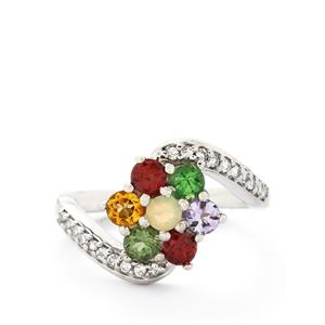 Multi-Color Gemstones Sterling Silver Ring ATGW 1.50cts