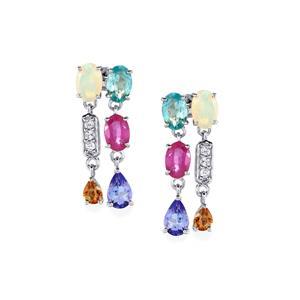 Kaleidoscope Gemstones Earrings in Sterling Silver 3.90cts (F)