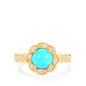 Sleeping Beauty Turquoise Ring with White Zircon in Gold Vermeil 1.48cts