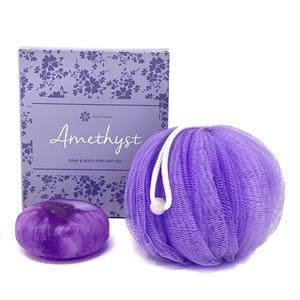 Gem Auras Amethyst Soap & Exfoliating Body Puff Gift Set - Amethyst & White Jade ATGW 60cts