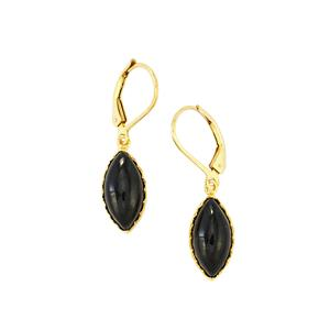 Black Spinel Earrings in Gold Plated Sterling Silver 8cts
