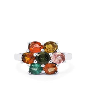 Rainbow Tourmaline Ring in Sterling Silver 2.15cts