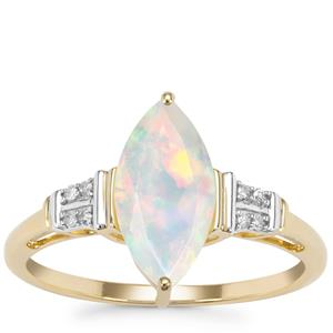 Kelayi Opal Ring with Diamond in 9K Gold 1.09cts