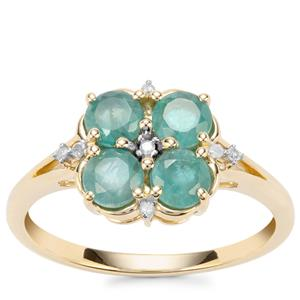 Grandidierite Ring with Diamond in 9K Gold 1.09cts