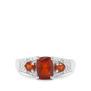 Loliondo Orange Kyanite & White Zircon Sterling Silver Ring ATGW 2.31cts