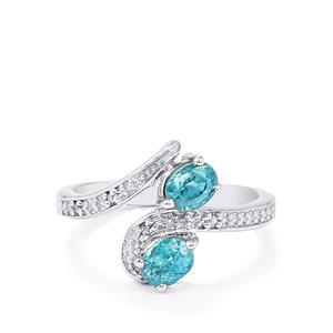 Ratanakiri Blue Zircon & Diamond Sterling Silver Ring ATGW 1.13cts