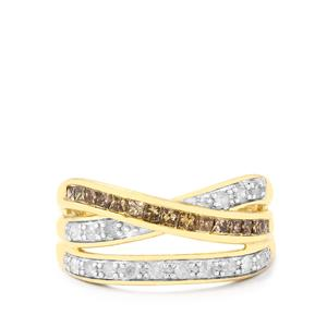 Champagne Diamond Ring with White Diamond in 10k Gold 0.75ct