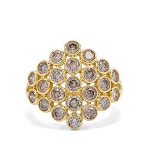 2ct Champagne Diamond 9K Gold Ring