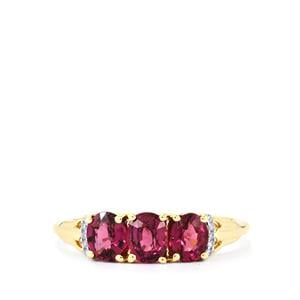 Comeria Garnet Ring with Diamond in 10k Gold 1.48cts