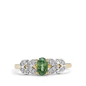 Alexandrite Ring with White Zircon in 10K Gold 0.73ct