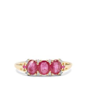 Sant, Malagasy Ruby & White Zircon 9K Gold Ring ATGW 1.47cts (F)