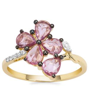 Sakaraha Pink Sapphire Ring with Natural Zircon in 9K Gold 1.42cts