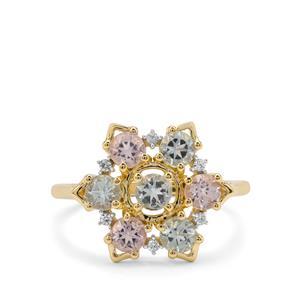 Aquaiba Beryl, Cherry Blossom™ Morganite & White Zircon 9K Gold Ring ATGW 1.15cts