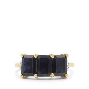 Ethiopian Blue Sapphire & Diamond 9K Gold Ring ATGW 3.64cts