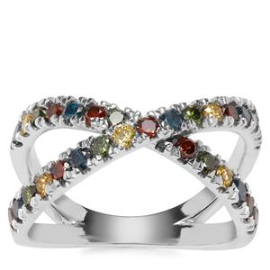 Multi-Colour Diamond Ring in Sterling Silver 1ct