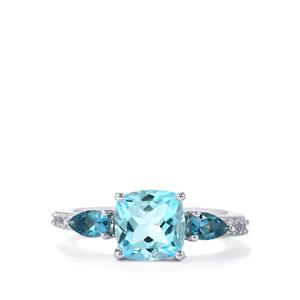Sky Blue Topaz, Marambaia London Blue Topaz Ring with White Zircon in Sterling Silver 3.38cts