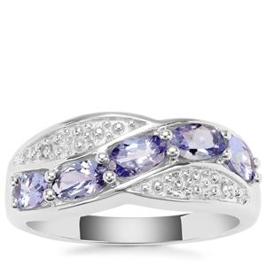 AA Tanzanite Ring with Diamond in Sterling Silver 1.31cts