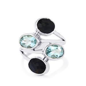 Hawk's Eye & Sky Blue Topaz Sterling Silver Aryonna Ring ATGW 6cts