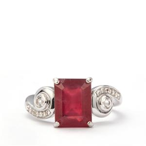 Madagascan Ruby & White Topaz Sterling Silver Ring ATGW 5.73cts (F)