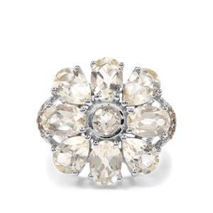 Serenite & Champagne Diamond Sterling Silver Ring ATGW 6.11cts