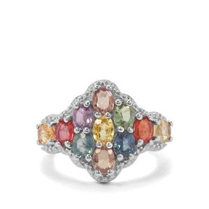 3.51ct Songea Multi Sapphire Sterling Silver Ring