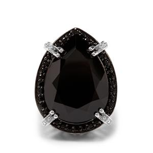 23.72ct Black Spinel Sterling Silver Ring