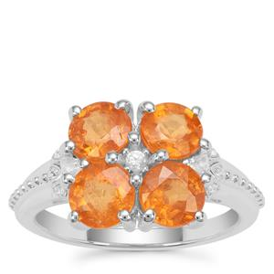 Mandarin Garnet Ring with White Zircon in Sterling Silver 4.02cts