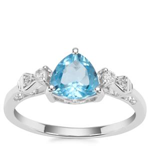 Swiss Blue Topaz Ring with White Zircon in Sterling Silver 1.60cts
