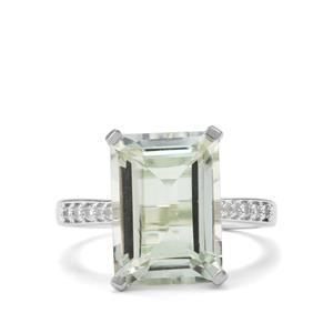 Prasiolite & White Topaz Sterling Silver Ring ATGW 7.37cts