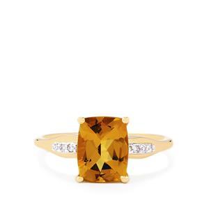 Amarelo Beryl & Diamond 9K Gold Ring ATGW 1.96cts