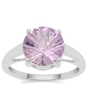 Honeycomb Cut Rose De France Amethyst Ring in Sterling Silver 3.15cts
