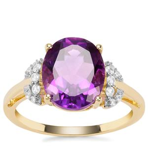 Moroccan Amethyst Ring with White Zircon in 9K Gold 3.36cts