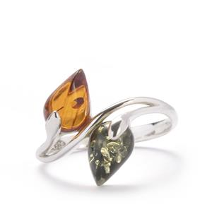 Baltic Cognac Amber Ring with Baltic Green Amber in Sterling Silver (9 x 6mm)