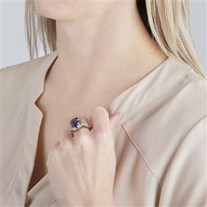 AAA Tanzanite Ring with Diamond in 18k Gold 7.68cts