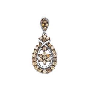 Multi-Colour Diamond Pendant in Sterling Silver 0.52ct