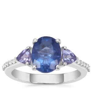 Colour Change Fluorite, Tanzanite Ring with White Zircon in Sterling Silver 2.70cts