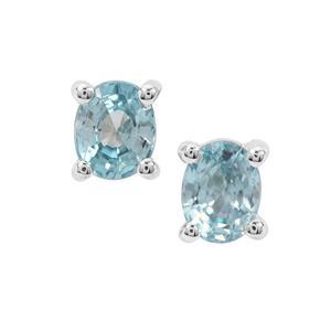 Ratanakiri Blue Zircon Earrings in Sterling Silver 1.14cts
