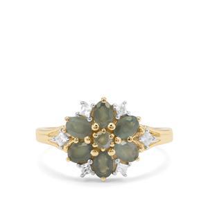 Orissa Alexandrite & Whtie Zircon 9K Gold Ring ATGW 1.35cts