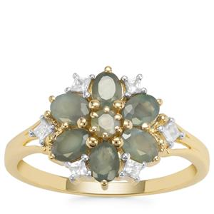 Orissa Alexandrite Ring with Whtie Zircon in 9K Gold 1.35cts