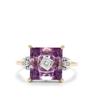Lehrer TorusRing Ametista Amethyst & Diamond 10K Gold Ring ATGW 3.67cts