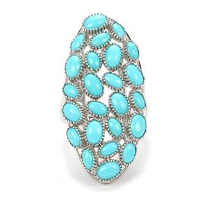 Sleeping Beauty Turquoise Ring  in Platinum Plated Sterling Silver 6.39cts