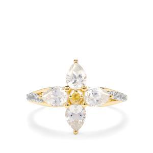 Singida Tanzanian Zircon, Ceylon & Yellow Sapphire 9K Gold Ring ATGW 2.10cts
