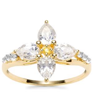 Singida Tanzanian Zircon, Ceylon Sapphire Ring with Yellow Sapphire in 9K Gold 2.10cts