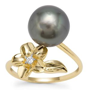 Tahitian Cultured Pearl Ring with White Zircon in 9K Gold (9mm)