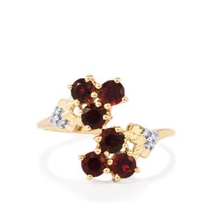 Cruzeiro Rubellite Ring with Diamond in 9K Gold 1.12cts
