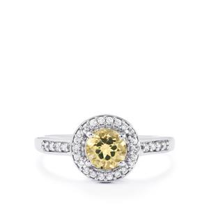 Imperial Topaz Ring with White Zircon in 10k White Gold 1.00cts