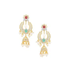 Sakota Emerald, Montepuez Ruby, Kaori Cultured Pearl Earrings with Diamond in Gold Plated Sterling Silver (F)